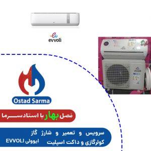 سرویس و تعمیر و شارژ گاز کولرگازی و داکت اسپلیت ایوولی EVVOLI